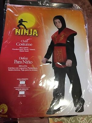 Halloween Red And Black Ninja Children Costume Small 4-6 Ages 3-4 Years