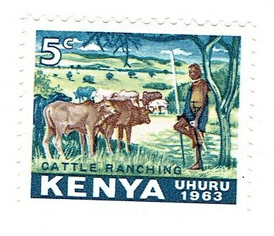 1963 Kenya - Cattle Ranching - 5 Cent Stamp