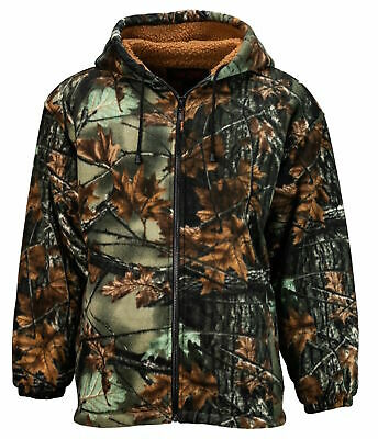 TrailCrest Men's Fleece Hoodie Camo Green Camouflage Jacket Outdoor Hunt Sport