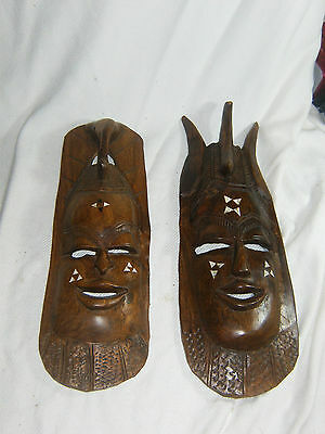 Pair Of Large African Wood Carved Wall Hanging Masks