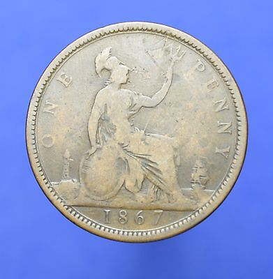 Lot# 12 British Coins: NICE+ Great Britain 1867 Victoria Penny KM# 749.2