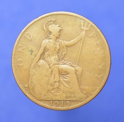 Lot# 36 British Coins: Great Britain 1919 George V Penny KM# 810