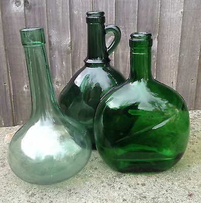 3 Green Glass Vintage Wine Bottles, 2 Portuguese, 1 Round Bottomed, Display Well