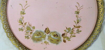 VINTAGE TOLE PAINTED LARGE TIN TRAY with CUT DESIGN RIM - SIGNED with LABEL