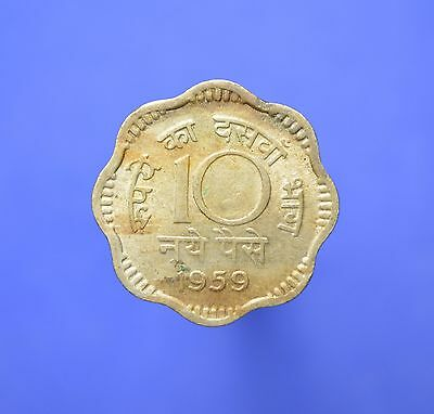 Lot# 7 India Republic Coins: SHARP 1959(C) 10 Naye Paise