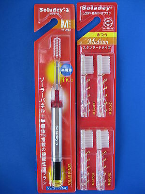 Soladey 3 regular size medium solar ionic toothbrush red & 4 replacement