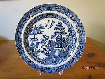 Vintage English Etruria Wedgwood Willow Dinner Plate Blue & White