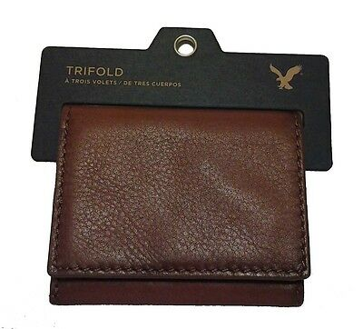 Nwt American Eagle Outfitters Mens Leather Trifold Wallet New Brown Aeo