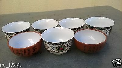 China 5 Porcelain and 2 Purple sands Cups