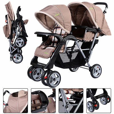 Foldable Twin Baby Double Stroller Kids Jogger Travel Infant Pushchair Gray Girl