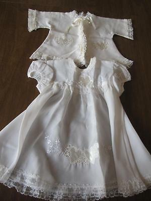 Vintage Baby Infant Dress and Jacket Nylon/Lace Heart Accents Christening Outfit