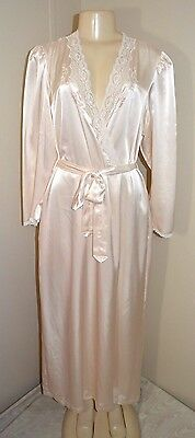 """Vintage Barbizon Soft Silky Lacey Satin Dressing Gown/robe-Size L-Bust To 42"""""""