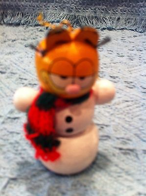 "New 1981 Dakin Garfield ""snowman"" Wooden Christmas Ornament"