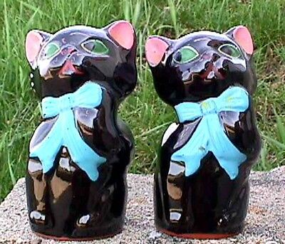 Shakers Black Cats Noise Maker Salt & Pepper Japan Vintage-G