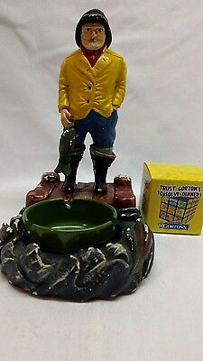 Gortons fisherman style ash tray and Rubiks cube in box & dealers choice insert