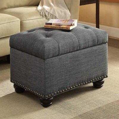 Awesome Tufted Storage Ottoman Bench Nailhead Stool Foot Modern Gmtry Best Dining Table And Chair Ideas Images Gmtryco