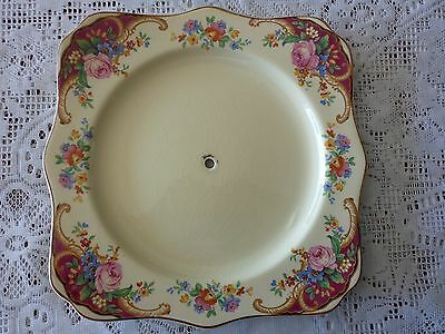 MYOTT STAFFORDSHIRE ENGLAND SQUARE FLORAL CAKE PLATE WITH HOLE FOR STAND 1930s