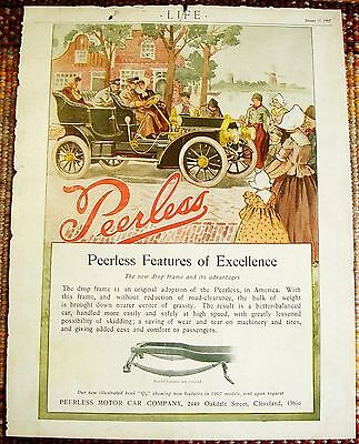1907 FRAMED Peerless Automobile Car ad Heavy Stock Paper Back Cover Vintage