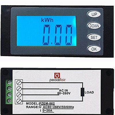 LED 20A AC Digital Panel Power Meter Ammeter Monitor KWh Time Watt Voltmeter new