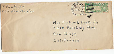 1936 USS New Mexico At Sea cover w/contents