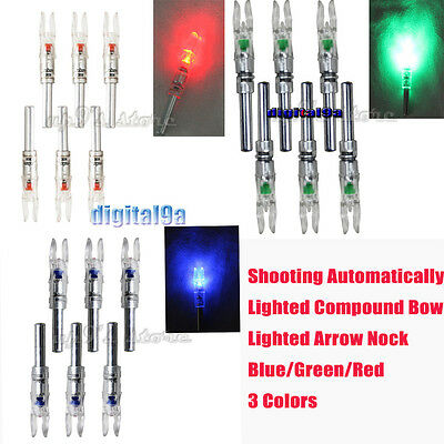 Shooting Automatically Lighted Compound Bow Red/Blue/Green Lighted Arrow Nock