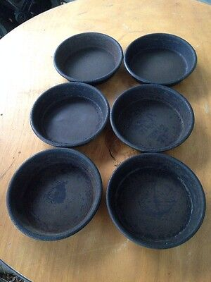 """Lot of 6 Used Pizza Hut Deep Dish Pizza Pans 6"""" Personal Pan Pizza Size Seasoned"""