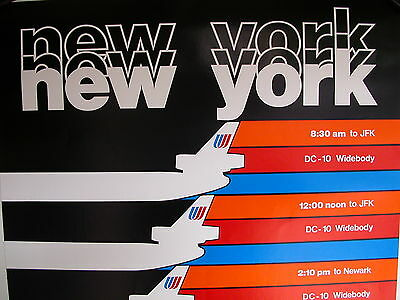 United Airlines Dc-10 New York 70's Vintage  Poster