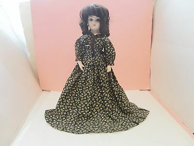 Lovely Vintage 2 Piece Calico Bisque China Doll Dress