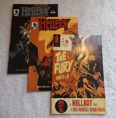HELLBOY Comic Books Series, THE STORM 1, 2, 3, July 2010, 7.5 Very Fine -