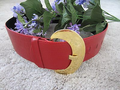 Vintage Belt Magid Wide Croc Embossed Red Leather Gold Buckle  sz L Womens GIFT