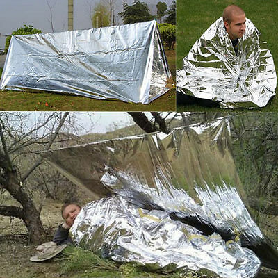 Folding Outdoor Emergency Tent Survival Camping Shelter Reflective Tent Blanket