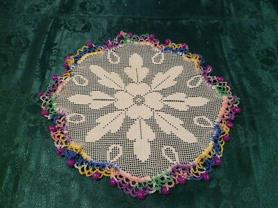 Vintage Purple Beaded Jug Cover With Multi Coloured Hand Crocheted Edge