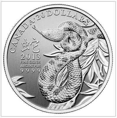 Canada 2013 Year Of The Snake $20 Silver Coin With Certificate Of Authenticity