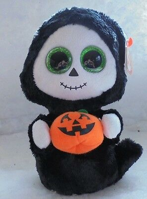 """TREATS Ghost 6"""" Glitter Eyes MWMTS Ty Beanie Boo Collectible Plush + FREE Gift"""