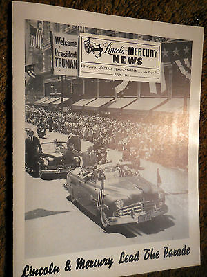 July 1948 Lincoln Mercury News Vol 1 No 3 brochure catalog Metuchen Plant & Los
