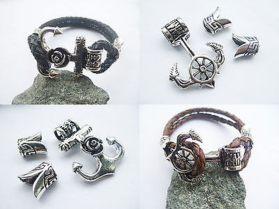 5sets Antique Silver Hook Clasp Connector Jewelry Findings for 5mm Round Leather