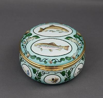 Halcyon Days Trout Fly Fishing Izaak Walton Compleat Angler Tribute Trinket Box