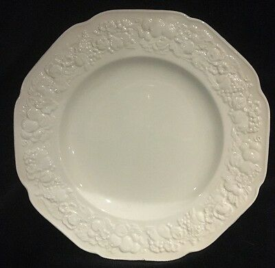 Crown Ducal Florentine White Dinner Plate With Raised Fruit Design on Edge