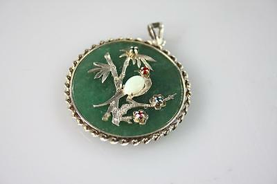 Chinese Vintage Jade And Opal Pendant In Sterling Silver Frame