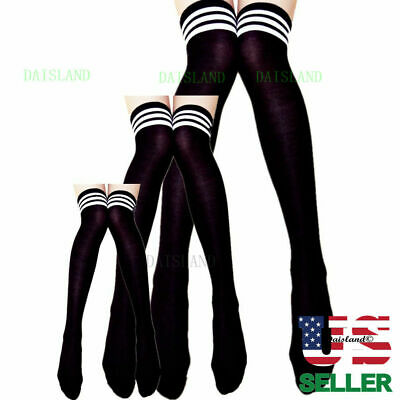 Long Pantyhose Plus Size New Over Knee Cotton Strip Women Stockings Socks Tights