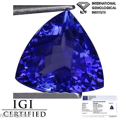 1.74 Ct IGI Certified AAA Natural D Block Tanzanite Blue Violet Trillion Cut