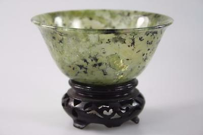 CHINESE VINTAGE SPINACH GREEN JADE SEMI TRANSPARENT BOWL w/ WOOD STAND