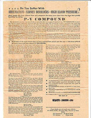 P. V. Compound Vintage Medical Advertising Collectible