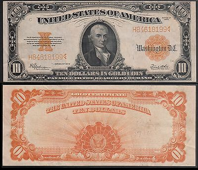 U.S. $10 Gold Certificate, 1922, Large size note, FR# 1173, Choice AU