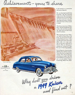 1949 Kaiser car ad --Kaiser Deluxe --Grand Coulee Dam in background --=751