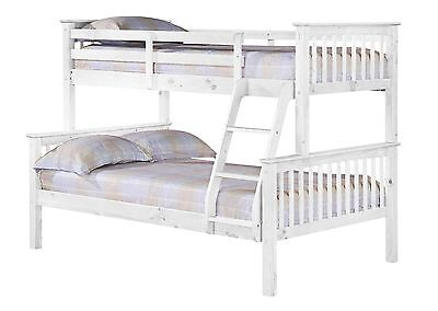 WHITE Porto Triple  Bunk Bed-1x Single Bed 1 x 4ft Double Brand New - In Stock