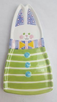 Dept 56 Spring Easter Bunny Rabbit Ceramic Spoon Rest Holder Plate Tray
