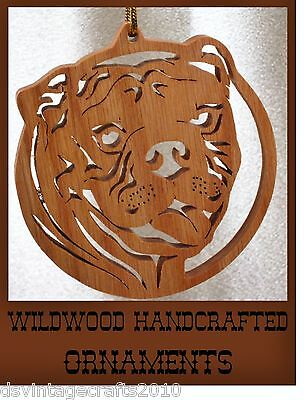 Bulldog Hand Crafted Wood Decorative Ornament by Wildwood Crafts
