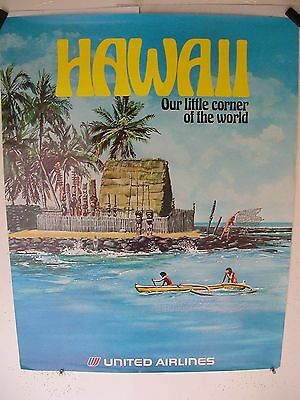United Airlines ''our Corner Of The World'' Hawaii  70's Vintage  Poster