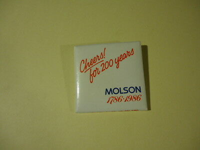 MOLSON PROMOTIONAL PINBACK BUTTON ...VINTAGE from 1986
